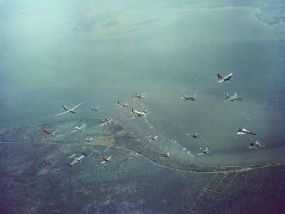 Fleet of US Air Force Operational Planes Flying in a Single Formation over Gulf Coast