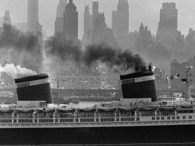 S.S. United States Sailing in New York Harbor