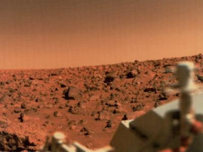 Surface of Mars from Viking 2, with Part of Spacecraft Visible