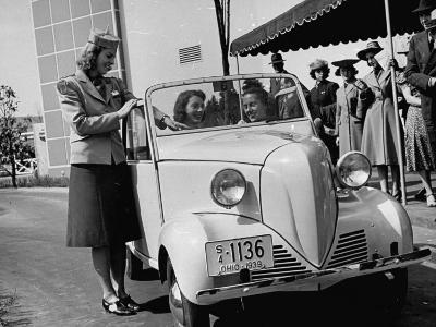 Girls Examining the New Crosley Car at the New York World Fair