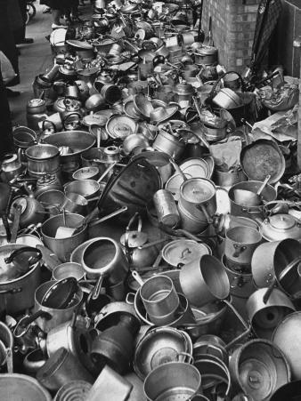 Metal Pots Collected by British Women During WWII for Use in the War Effort