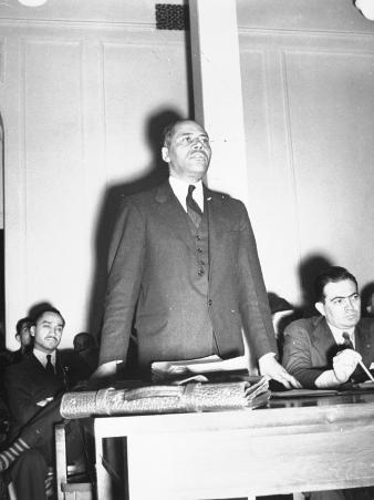 Charles H. Houston of Harvard University, Making a Plea for Use of Central High Auditorium