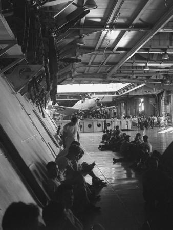 """Elevator from Flight Deck to Hangar of Aircraft Carrier """"Enterprise"""""""
