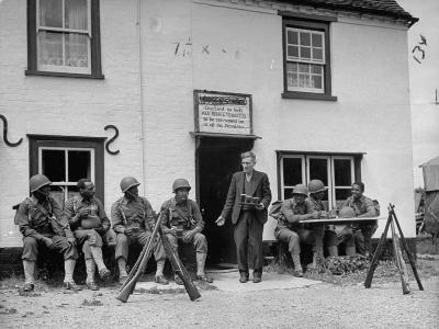 First African American Troop the United States Has Ever Sent to England, Having Beer at Local Pub