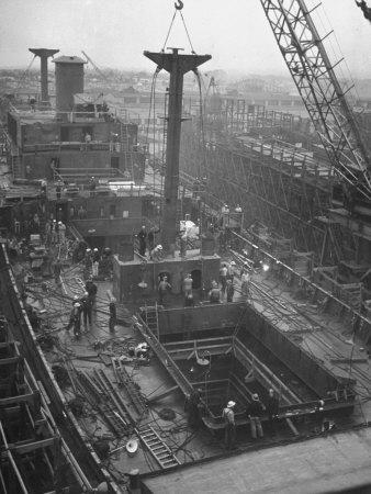 Men Working on the Liberty Ship in the Kaiser Shipyard
