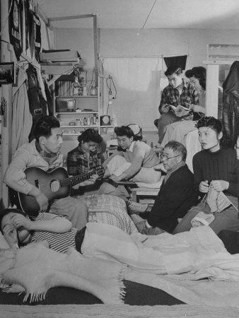 Crowded Living Quarters of Japanese American Family Interned in a Relocation Camp