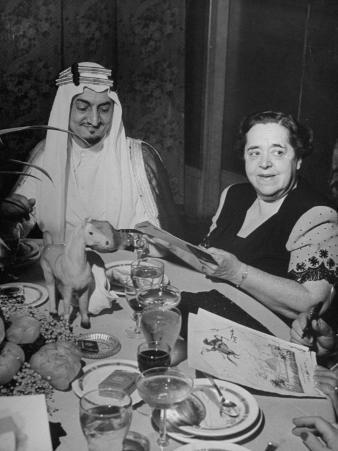 Elsa Maxwell Sitting with Prince Faisal Al Saud of Saudi Arabia at Dinner Party