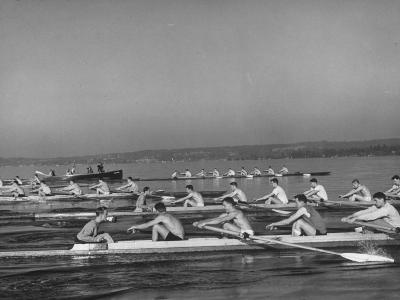 Washington Univ. Rowing Team Practicing on Lake Washington