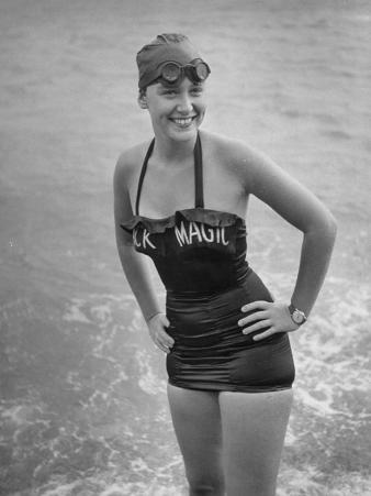 """Swimmer Shirley May France, Standing in the Ocean Wearing Her """"Black Magic"""" Swimsuit"""