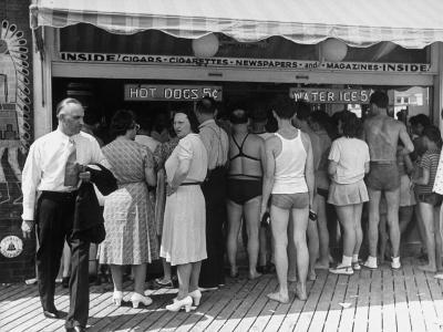 Customers Lined Up at a Hot Dog Stand on the Boardwalk in the Resort and Convention City