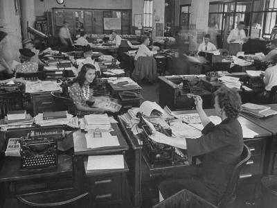 Editiorial Office of the Brooklyn Eagle Newspaper Where Staff Members are Busy in Newsroom