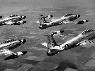 F84 Planes Flying in Formation