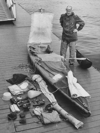 Dr. Hannes Lindemann Standing Next to the Folding Boat He Crossed the Atlantic Ocean In