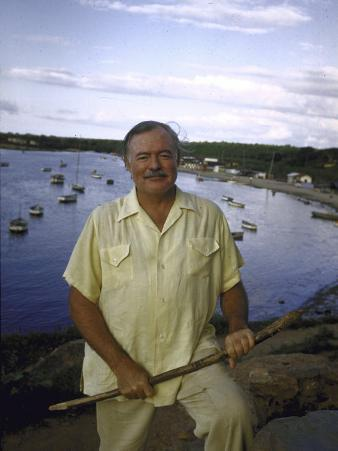 "Ernest Hemingway at a Cuban Fishing Village Like the One Used in His Book ""The Old Man and the Sea"""