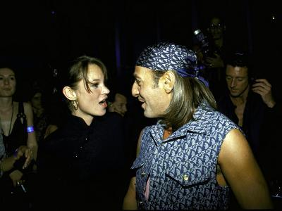 Model Kate Moss and Designer John Galliano at Galliano's Opening of Christian Dior Boutique