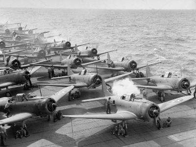"Planes Starting Motors on Flight Deck of Aircraft Carrier ""Enterprise"""