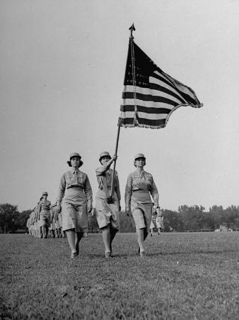 Wacs Carrying Flag for First Time at Retreat