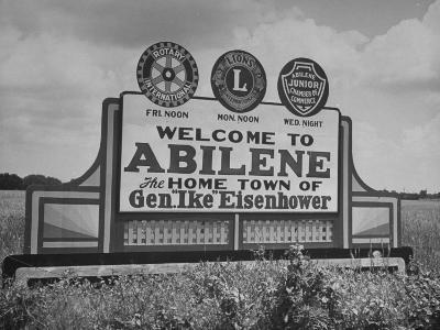 Highway Sign Welcoming Tourists to the Home Town of General Dwight D. Eisenhower