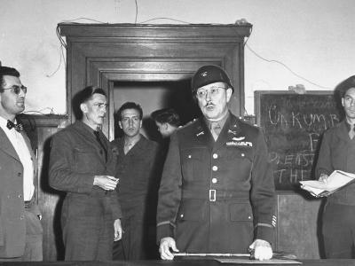Col. Burton Andrus Announcing Suicide of Hermann Goering During Trial of German War Criminals