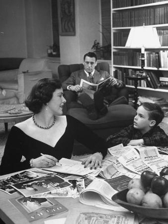 American Housewife Margaret Carson Sitting at Home with Her Husband and Son