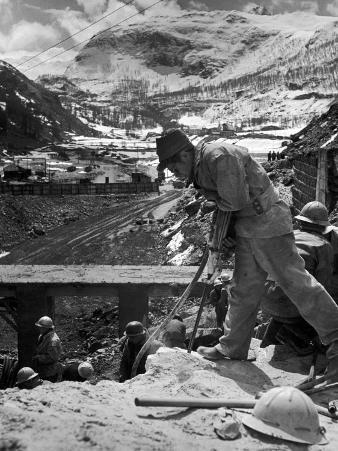Worker Using a Jack Hammer to Help Build the Dam for the Eca-Sponsored Hydro-Electric Projects
