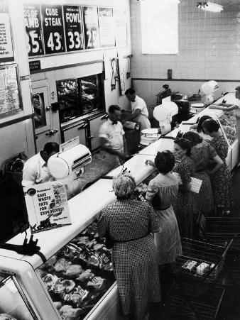 Shoppers at Butcher Counter in A&P Grocery Store
