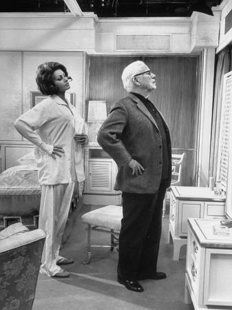 "Actor Charlie Chaplin Directing Actress Sophia Loren in ""A Countess from Hong Kong"""