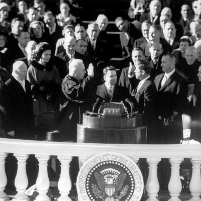 President Joh F. Kennedy Being Sworn in at the Inaugural Ceremony