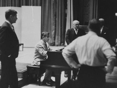 Composer Leonard Bernstein Preparing for a Concert