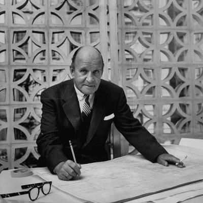 Architect Edward D. Stone Sitting in His Office