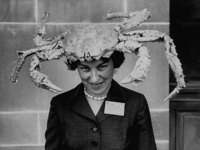 Woman Wearing a Crab Hat at the League of Women Voter's Convention