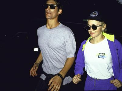 Singer Madonna Jogging with Boyfriend Tony Ward, Both Wearing Sunglasses