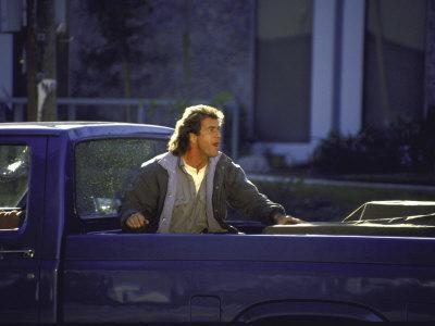 "Actor Mel Gibson Shooting Scene from Film ""Lethal Weapon 3"""