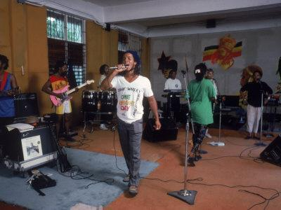 Musician Ziggy Marley Practicing with Band the Melody Makers
