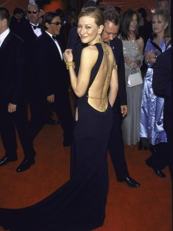 Actress Cate Blanchett, Displaying Back-Less Gown, at Academy Awards