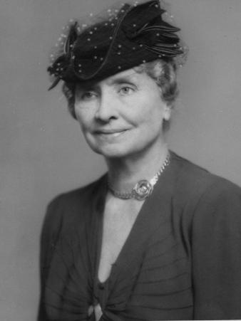 Noted Deaf and Blind Ldr. Helen Keller Wearing Hat