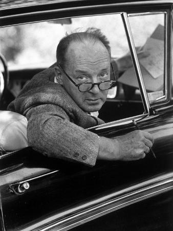 Author Vladimir Nabokov Looking Out Car Window. He Likes to Work in the Car, Writing on Index Cards