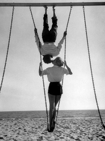 Acrobat and Actor, Russ Tamblyn on the Beach with Movie Actress Venetia Stevenson