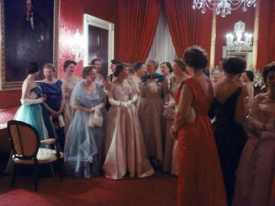 Mrs. Earl Warren Listening to 1st Lady Mamie Eisenhower Entertaining Guests at a State Dinner