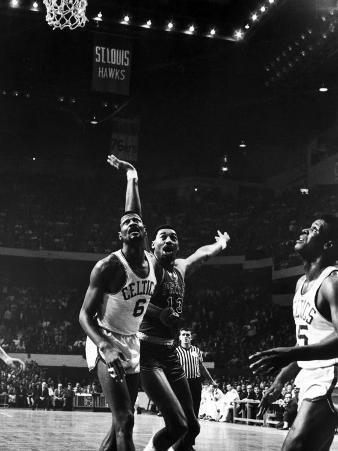 Boston Celtic Bill Russell and Philadelphia 76Er Wilt Chamberlain Competing in the Nba Playoffs