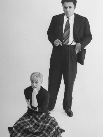 Italian Dir. Federico Fellini and Actress Wife Giulietta Masina Posing in Studio
