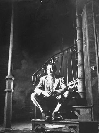 """Playwright Tennessee Williams Sitting on the Set of His """"A Streetcar Named Desire"""""""