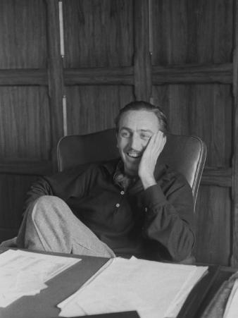 Walt Disney Casually Sitting at Desk in His Office