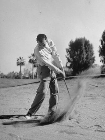 Golfer Ben Hogan Playing Golf in Sandtrap