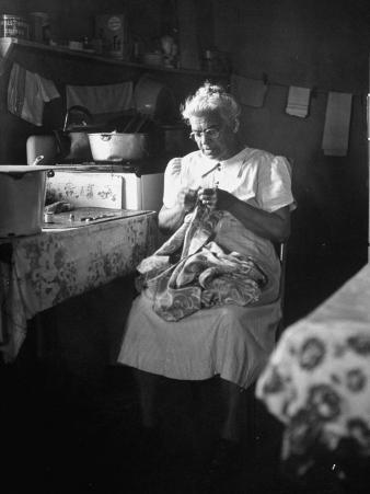American Indian, Dr. L. R. Minoka Hill, Sewing in Kitchen Window Light
