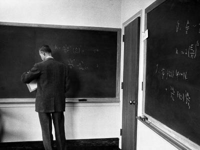 J. Robert Oppenheimer, Working Out Physics Formulas on Blackboards