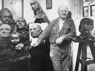 Sculptor Jacob Epstein Standing in His Studio with Several of His Sculptures