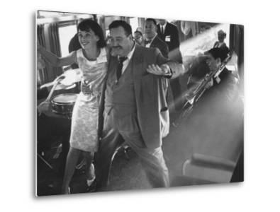 """Ann Warner, with Jackie Gleason in Lounge Car of """"Gleason Express"""" Announcing His Return to Tv"""