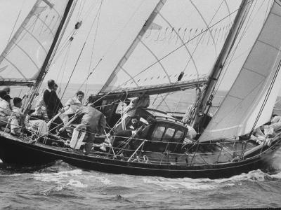 Prince Philip at Helm of His Yawl, 'Bloodhound', During Cowes Regatta