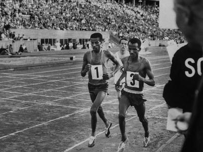Abebe Bikila and Mamo Wolde in Exhibition Race at Berlin Olympic Stadium